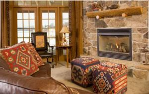 Laconia Hotel Fireplaces in Rooms and Common Areas